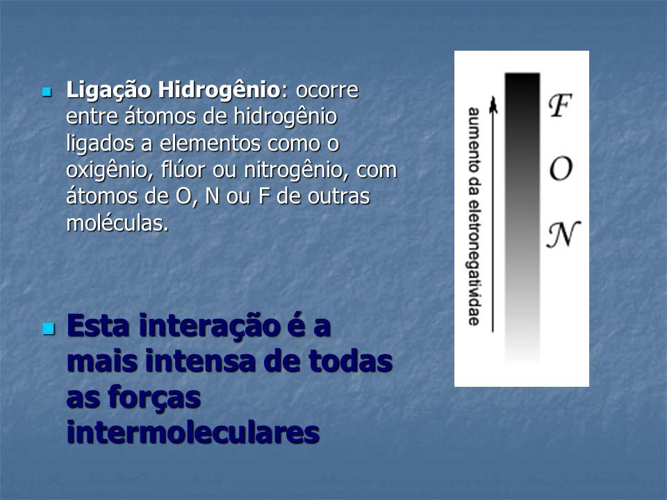 Ligação Hidrogênio: ocorre entre átomos de hidrogênio ligados a elementos como o oxigênio, flúor ou nitrogênio, com átomos de O, N ou F de outras molé