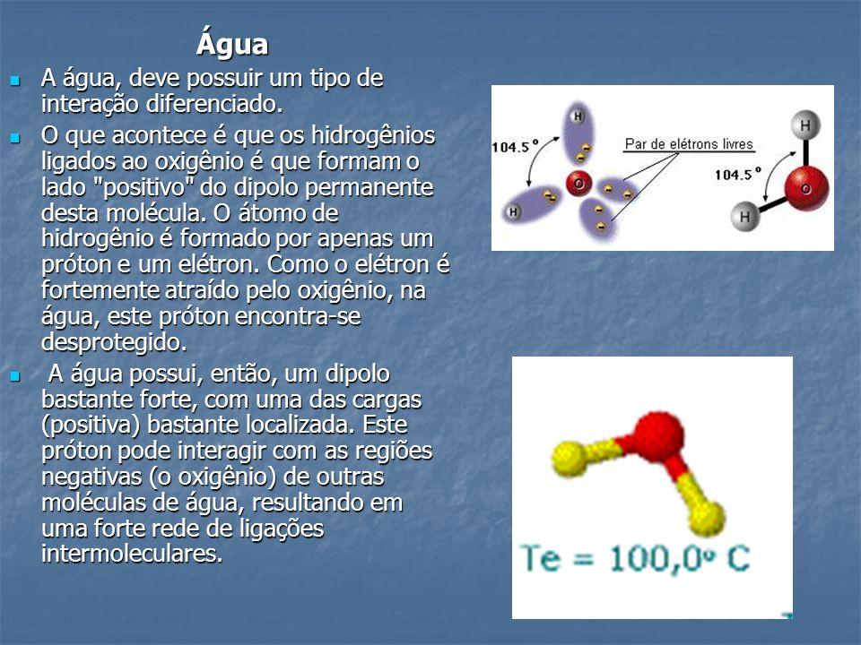 Água A água, deve possuir um tipo de interação diferenciado. A água, deve possuir um tipo de interação diferenciado. O que acontece é que os hidrogêni