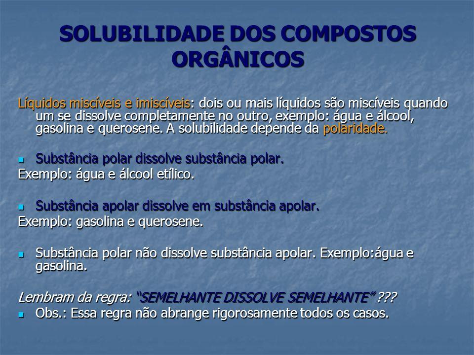 SOLUBILIDADE DOS COMPOSTOS ORGÂNICOS Líquidos miscíveis e imiscíveis: dois ou mais líquidos são miscíveis quando um se dissolve completamente no outro