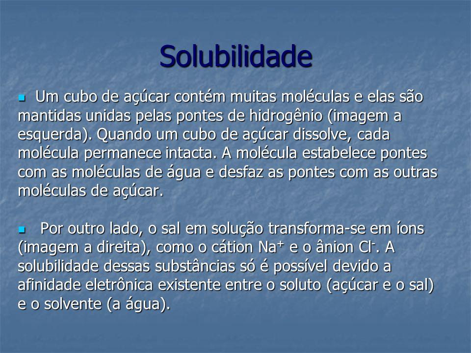Solubilidade Um cubo de açúcar contém muitas moléculas e elas são Um cubo de açúcar contém muitas moléculas e elas são mantidas unidas pelas pontes de