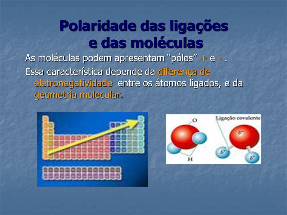 Polaridade das ligações e das moléculas As moléculas podem apresentam pólos + e -. Essa característica depende da diferença de eletronegatividade entr