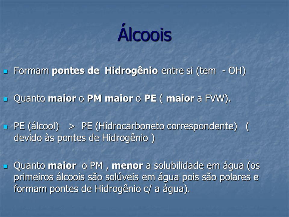 Álcoois Formam pontes de Hidrogênio entre si (tem - OH) Formam pontes de Hidrogênio entre si (tem - OH) Quanto maior o PM maior o PE ( maior a FVW). Q