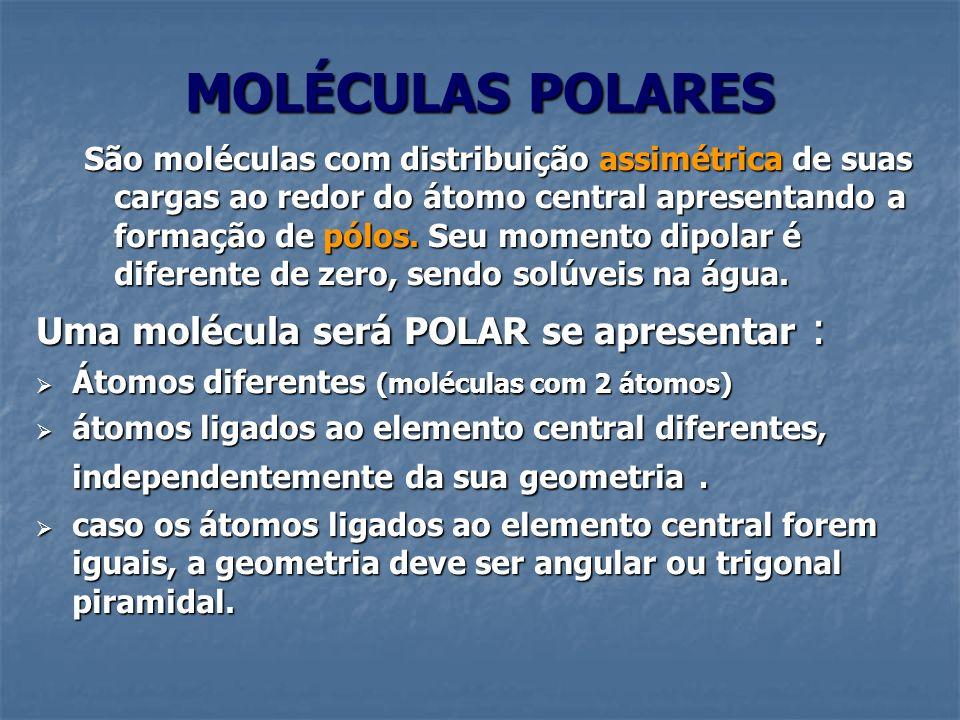 MOLÉCULAS POLARES São moléculas com distribuição assimétrica de suas cargas ao redor do átomo central apresentando a formação de pólos. Seu momento di
