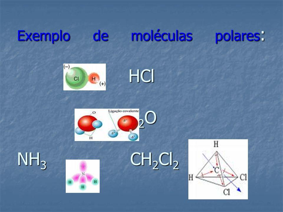Exemplo de moléculas polares : HCl H 2 O NH 3 CH 2 Cl 2