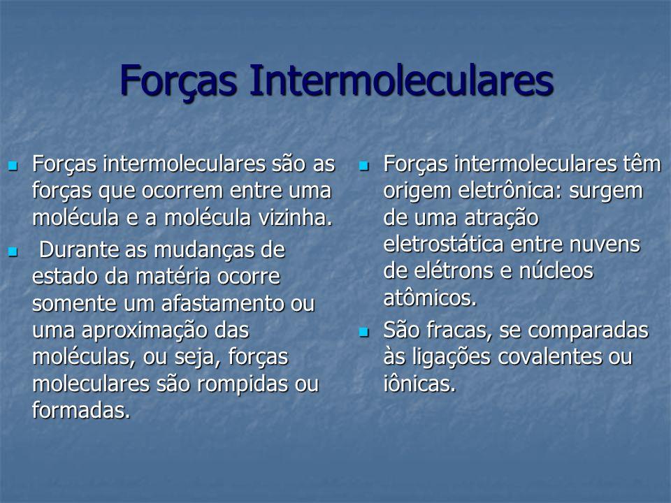 Forças Intermoleculares Forças intermoleculares são as forças que ocorrem entre uma molécula e a molécula vizinha. Forças intermoleculares são as forç