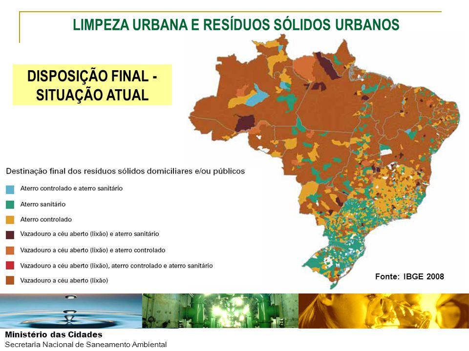 Ministério das Cidades Secretaria Nacional de Saneamento Ambiental LIMPEZA URBANA E RESÍDUOS SÓLIDOS URBANOS Fonte: IBGE 2008 DISPOSIÇÃO FINAL - SITUA