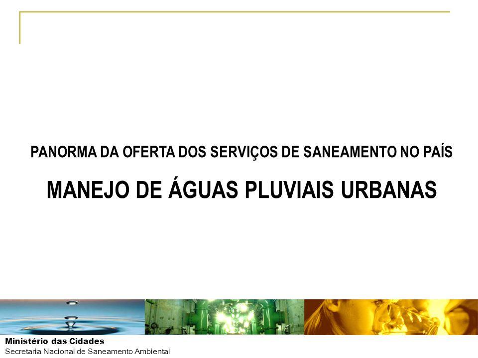 Ministério das Cidades Secretaria Nacional de Saneamento Ambiental PANORMA DA OFERTA DOS SERVIÇOS DE SANEAMENTO NO PAÍS MANEJO DE ÁGUAS PLUVIAIS URBAN