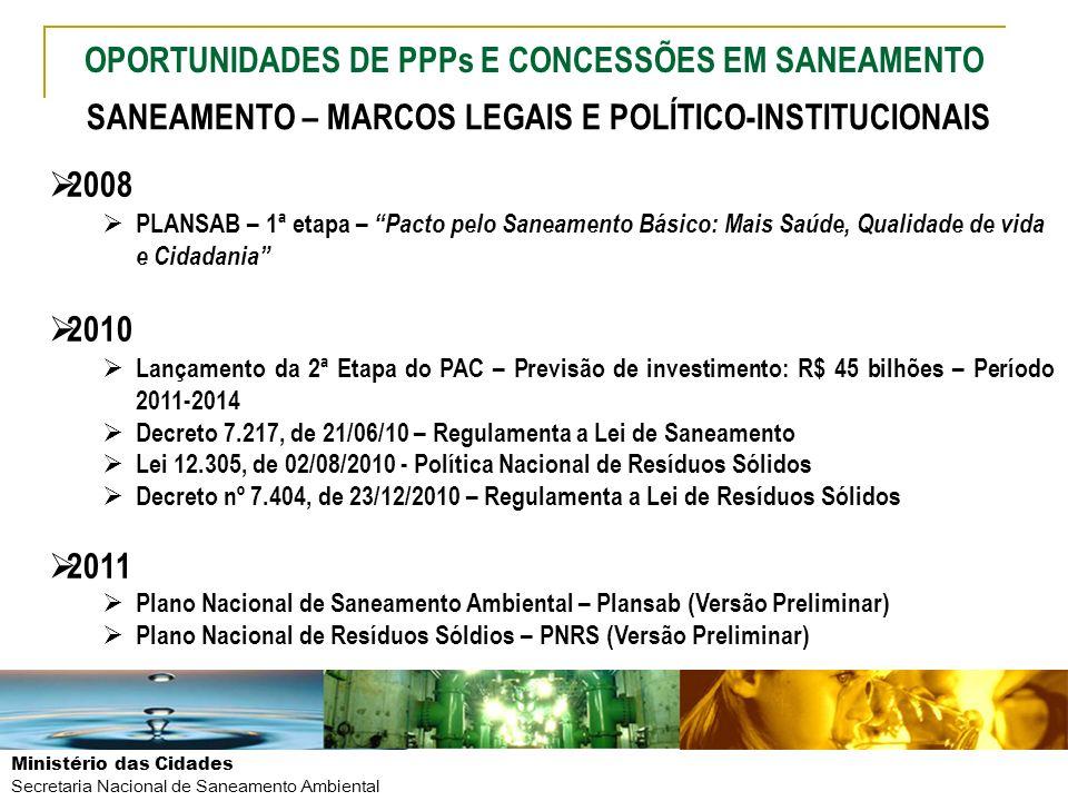 Ministério das Cidades Secretaria Nacional de Saneamento Ambiental SANEAMENTO – MARCOS LEGAIS E POLÍTICO-INSTITUCIONAIS 2008 PLANSAB – 1ª etapa – Pact