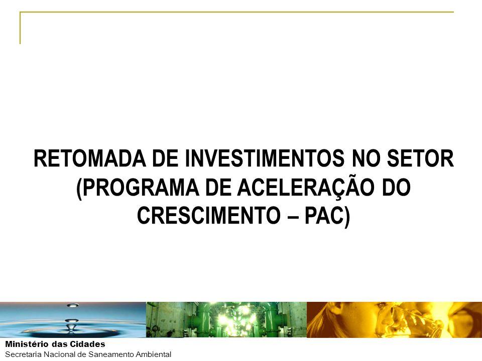 Ministério das Cidades Secretaria Nacional de Saneamento Ambiental RETOMADA DE INVESTIMENTOS NO SETOR (PROGRAMA DE ACELERAÇÃO DO CRESCIMENTO – PAC)