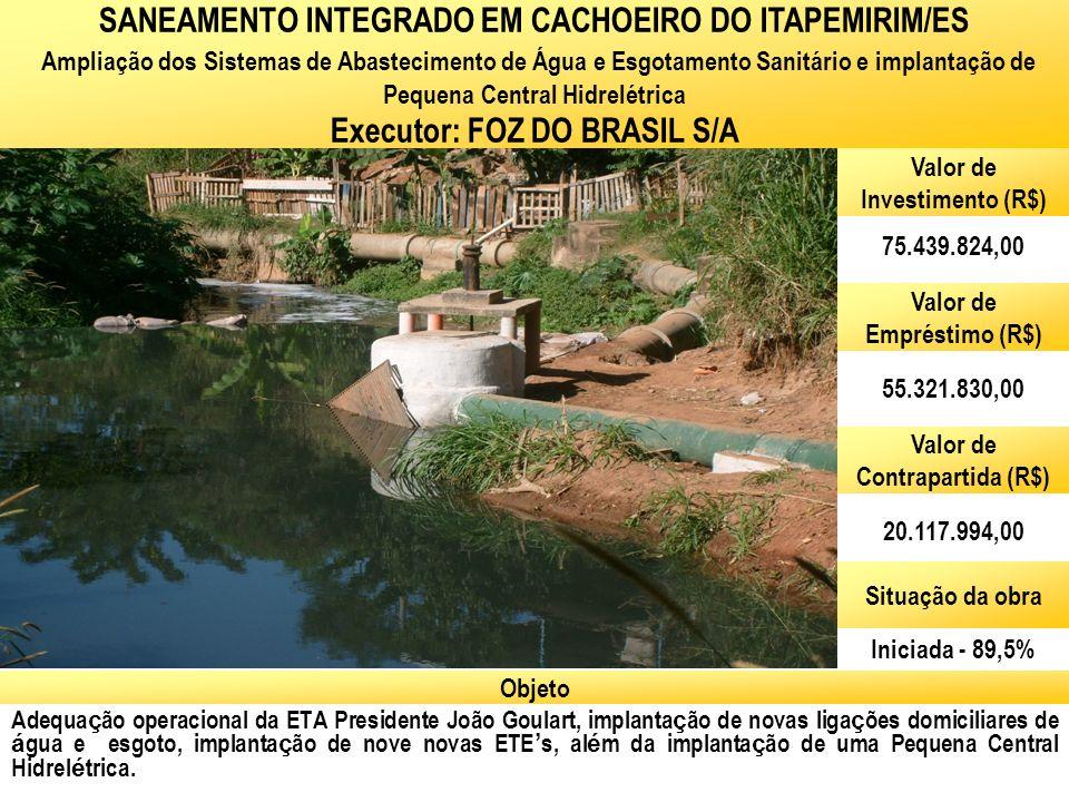 Ministério das Cidades Secretaria Nacional de Saneamento Ambiental Adequa ç ão operacional da ETA Presidente João Goulart, implanta ç ão de novas liga