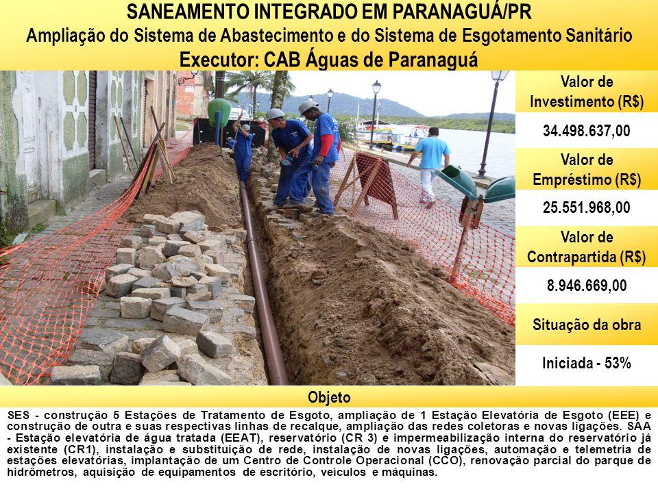 Ministério das Cidades Secretaria Nacional de Saneamento Ambiental SES - construção 5 Estações de Tratamento de Esgoto, ampliação de 1 Estação Elevató