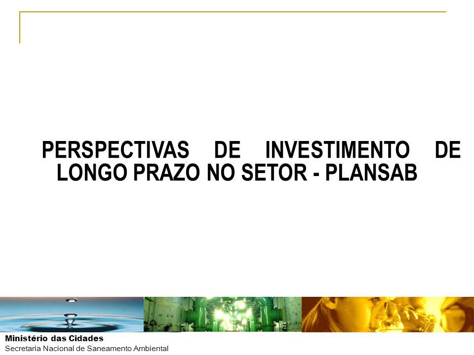 Ministério das Cidades Secretaria Nacional de Saneamento Ambiental PERSPECTIVAS DE INVESTIMENTO DE LONGO PRAZO NO SETOR - PLANSAB