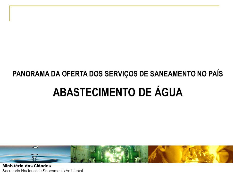 Ministério das Cidades Secretaria Nacional de Saneamento Ambiental POPULAÇÃO TOTAL DE DOMICÍLIOS (x 1.000) % COBERTURA (Rede com canalização) DÉFICIT (QTE DE DOMICÍLIOS) (x 1.000) % DE DÉFICIT EM RELAÇÃO AO TOTAL Urbana49.22791,93.98340,5 Rural8.09727,85.84759,5 BRASIL57.32482,99.830100,0 Fonte: CENSO IBGE/2010 COBERTURA DE ABASTECIMENTO DE ÁGUA – IBGE/2010 OPORTUNIDADES DE PPPs E CONCESSÕES EM SANEAMENTO PANORAMA DA OFERTA DOS SERVIÇOS DE SANEAMENTO NO PAÍS