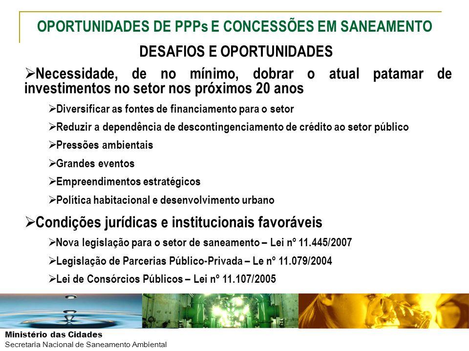 Ministério das Cidades Secretaria Nacional de Saneamento Ambiental DESAFIOS E OPORTUNIDADES Necessidade, de no mínimo, dobrar o atual patamar de inves
