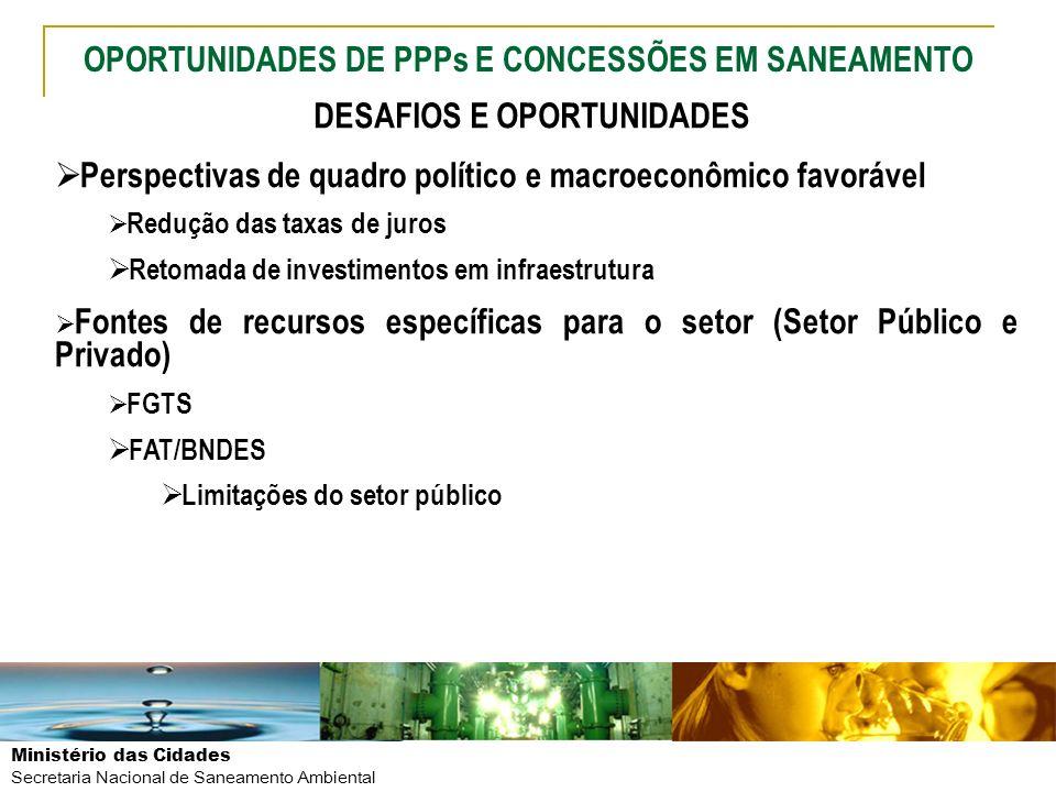 Ministério das Cidades Secretaria Nacional de Saneamento Ambiental Perspectivas de quadro político e macroeconômico favorável Redução das taxas de jur