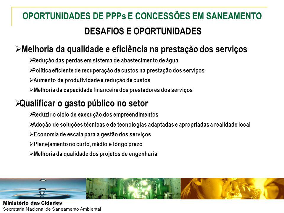 Ministério das Cidades Secretaria Nacional de Saneamento Ambiental Melhoria da qualidade e eficiência na prestação dos serviços Redução das perdas em