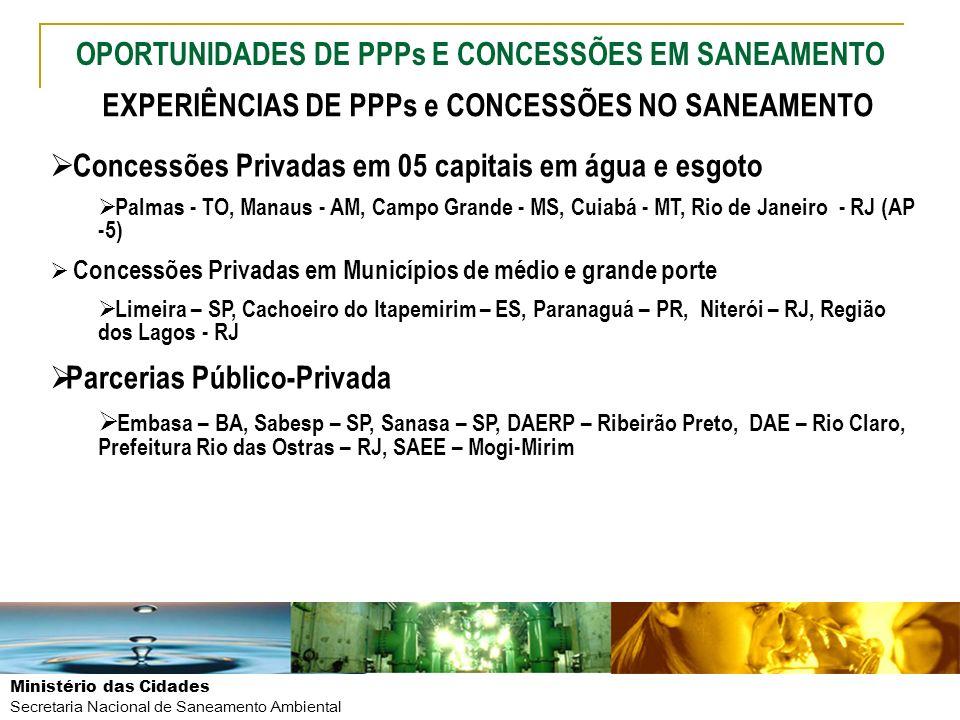 Ministério das Cidades Secretaria Nacional de Saneamento Ambiental Concessões Privadas em 05 capitais em água e esgoto Palmas - TO, Manaus - AM, Campo