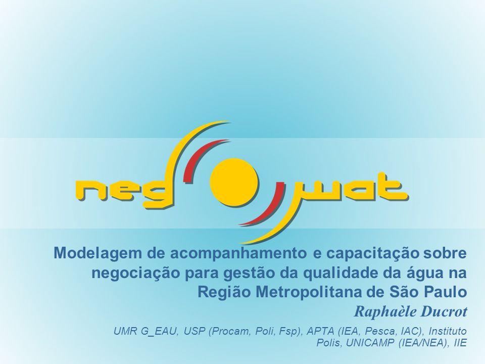 Modelagem de acompanhamento e capacitação sobre negociação para gestão da qualidade da água na Região Metropolitana de São Paulo Raphaèle Ducrot UMR G_EAU, USP (Procam, Poli, Fsp), APTA (IEA, Pesca, IAC), Instituto Polis, UNICAMP (IEA/NEA), IIE