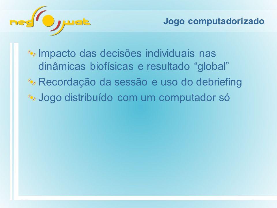 Jogo computadorizado Impacto das decisões individuais nas dinâmicas biofísicas e resultado global Recordação da sessão e uso do debriefing Jogo distribuído com um computador só