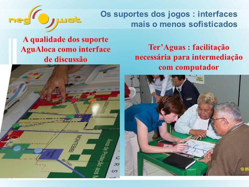 Os suportes dos jogos : interfaces mais o menos sofisticados A qualidade dos suporte AguAloca como interface de discussão TerAguas : facilitação necessária para intermediação com computador