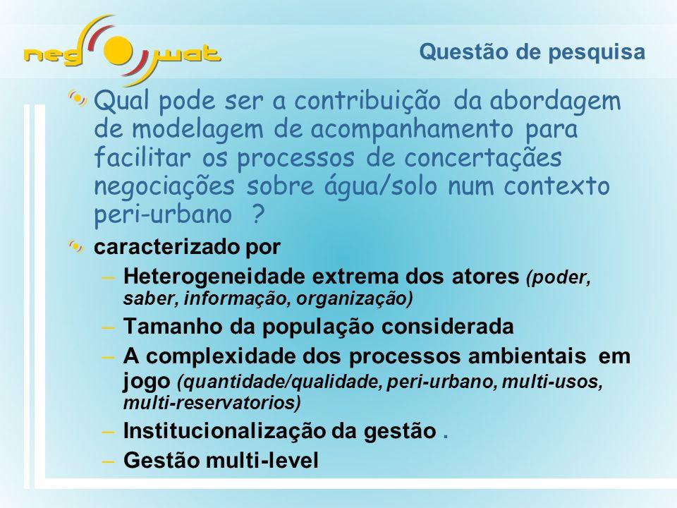 Questão de pesquisa Qual pode ser a contribuição da abordagem de modelagem de acompanhamento para facilitar os processos de concertaçães negociações sobre água/solo num contexto peri-urbano .
