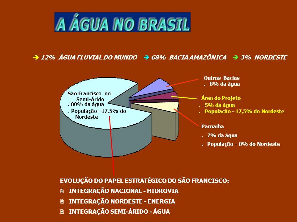 EVOLUÇÃO DO PAPEL ESTRATÉGICO DO SÃO FRANCISCO: INTEGRAÇÃO NACIONAL - HIDROVIA INTEGRAÇÃO NORDESTE - ENERGIA INTEGRAÇÃO SEMI-ÁRIDO - ÁGUA Parnaíba. 7%
