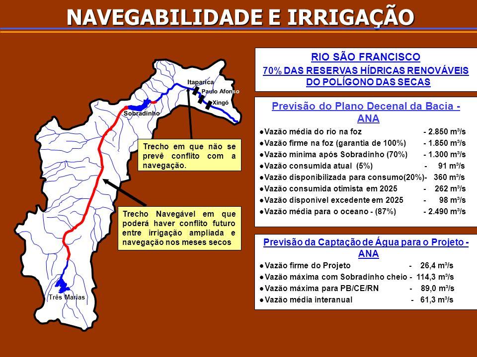 NAVEGABILIDADE E IRRIGAÇÃO Trecho Navegável em que poderá haver conflito futuro entre irrigação ampliada e navegação nos meses secos Trecho em que não