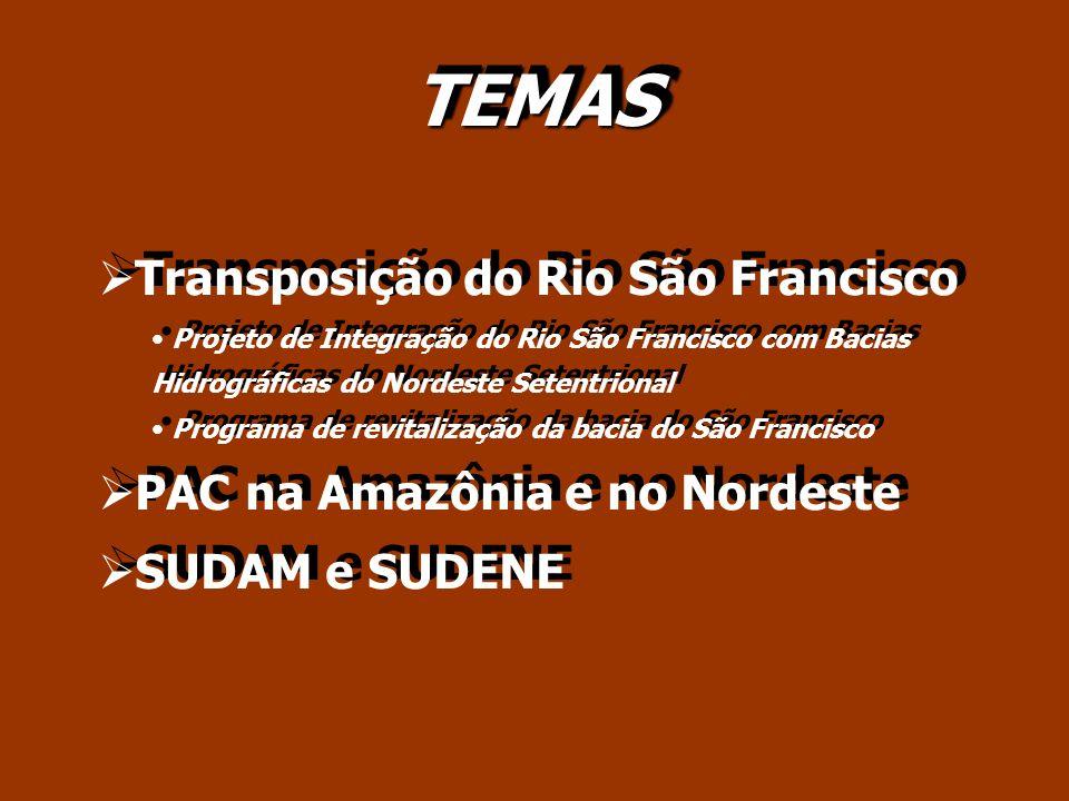 TEMAS Transposição do Rio São Francisco Projeto de Integração do Rio São Francisco com Bacias Hidrográficas do Nordeste Setentrional Programa de revit