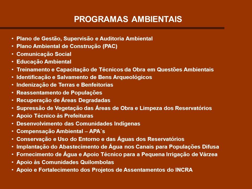 PROGRAMAS AMBIENTAIS Plano de Gestão, Supervisão e Auditoria Ambiental Plano Ambiental de Construção (PAC) Comunicação Social Educação Ambiental Trein