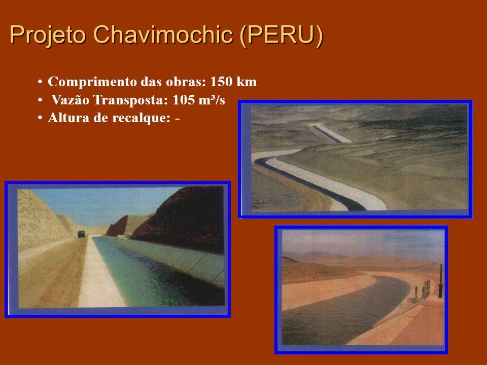 Projeto Chavimochic (PERU) Comprimento das obras: 150 km Vazão Transposta: 105 m³/s Altura de recalque: -