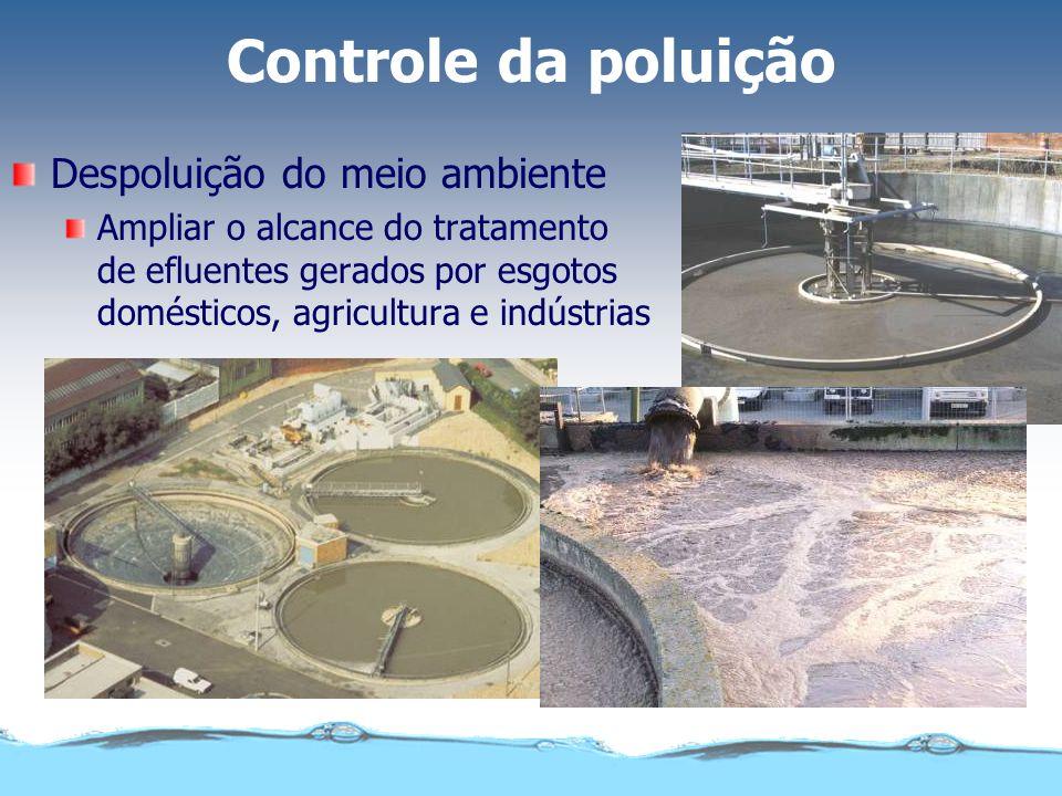 Controle da poluição Despoluição do meio ambiente Ampliar o alcance do tratamento de efluentes gerados por esgotos domésticos, agricultura e indústria