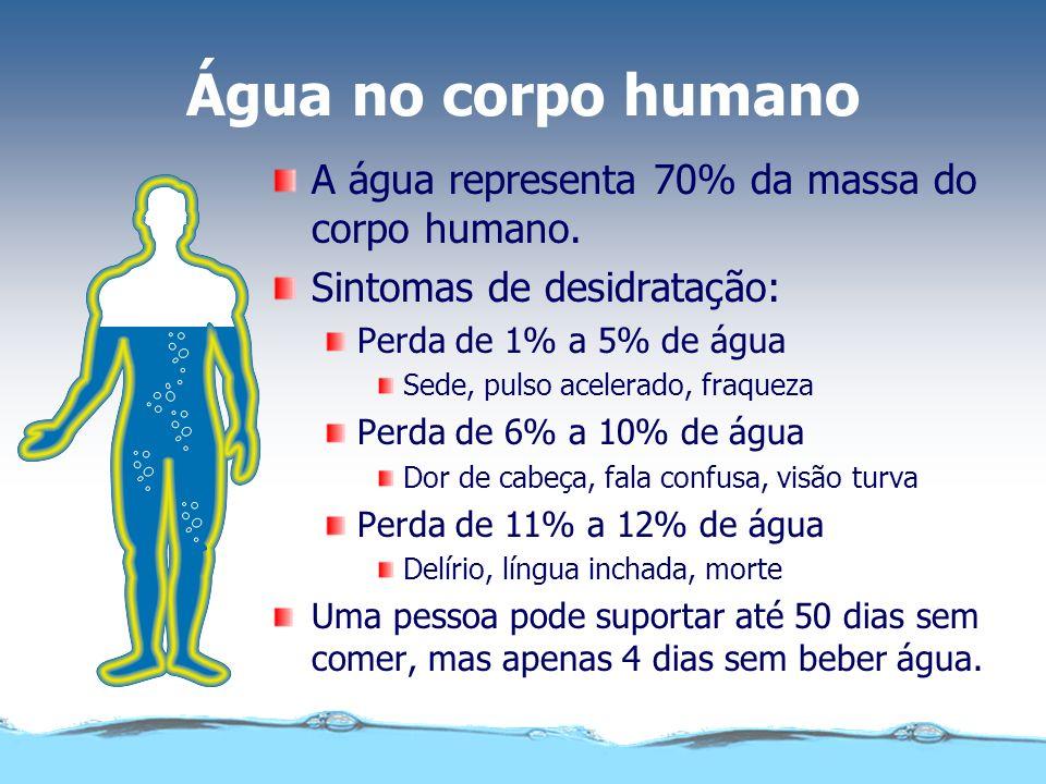 Água no corpo humano A água representa 70% da massa do corpo humano. Sintomas de desidratação: Perda de 1% a 5% de água Sede, pulso acelerado, fraquez