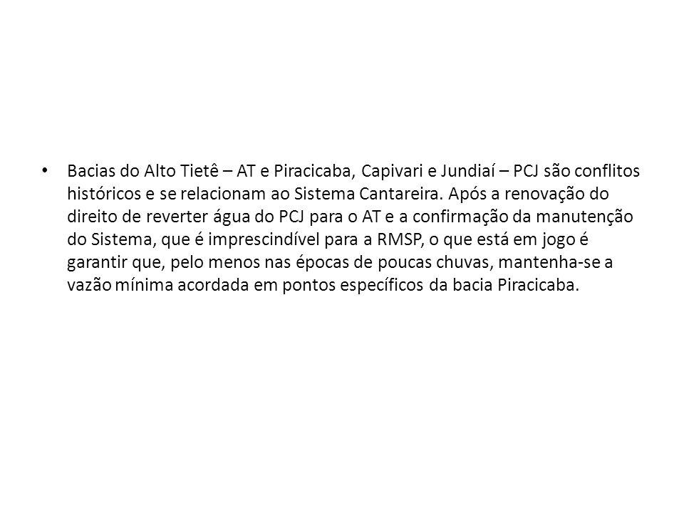 Bacias do Alto Tietê – AT e Piracicaba, Capivari e Jundiaí – PCJ são conflitos históricos e se relacionam ao Sistema Cantareira. Após a renovação do d