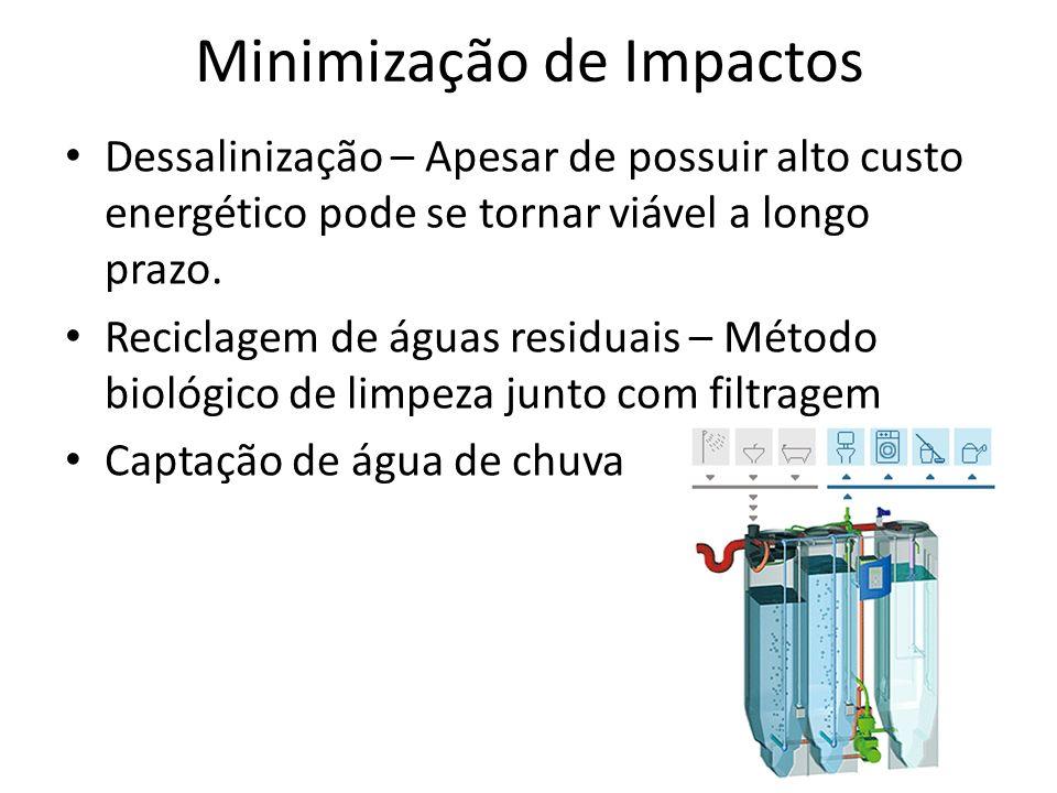 Minimização de Impactos Dessalinização – Apesar de possuir alto custo energético pode se tornar viável a longo prazo. Reciclagem de águas residuais –