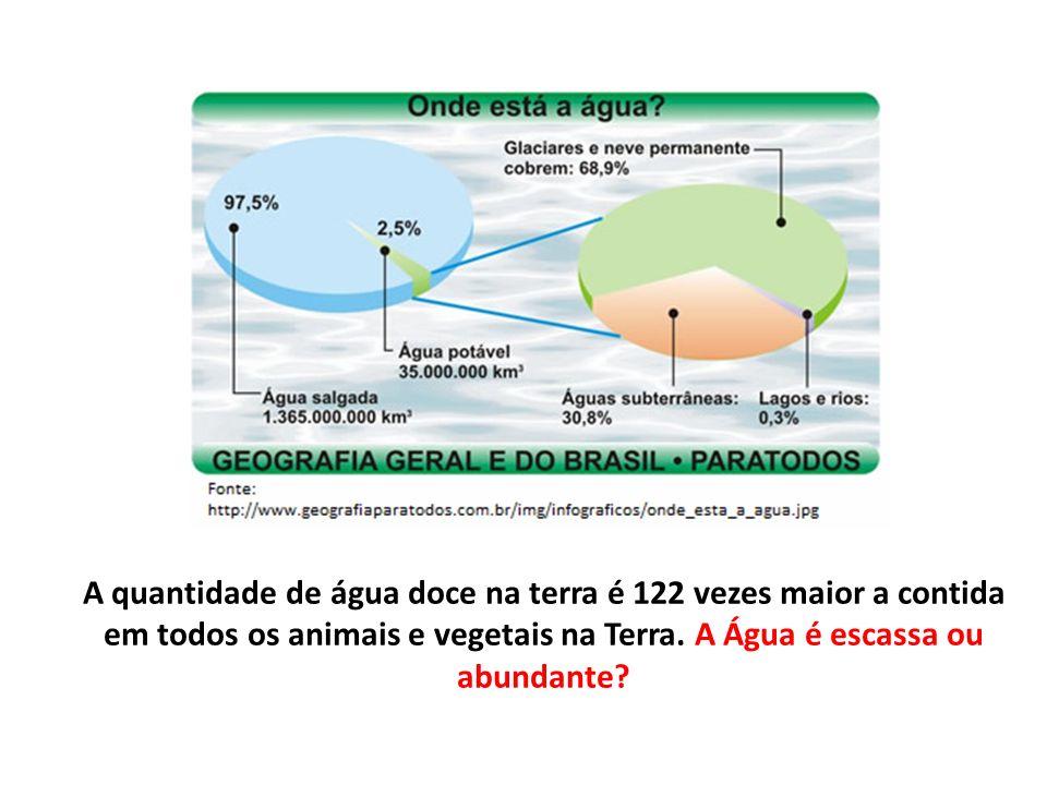 A quantidade de água doce na terra é 122 vezes maior a contida em todos os animais e vegetais na Terra. A Água é escassa ou abundante?