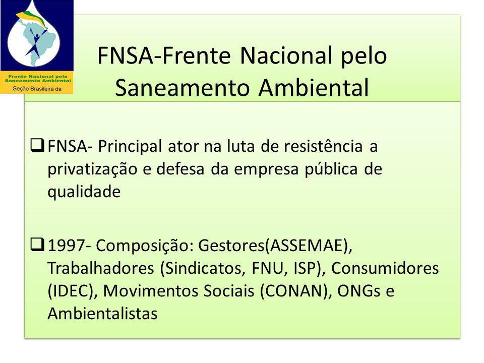 A Frente Nacional pelo Saneamento Ambiental Coordenação - FNU ASSEMAE – Ass.