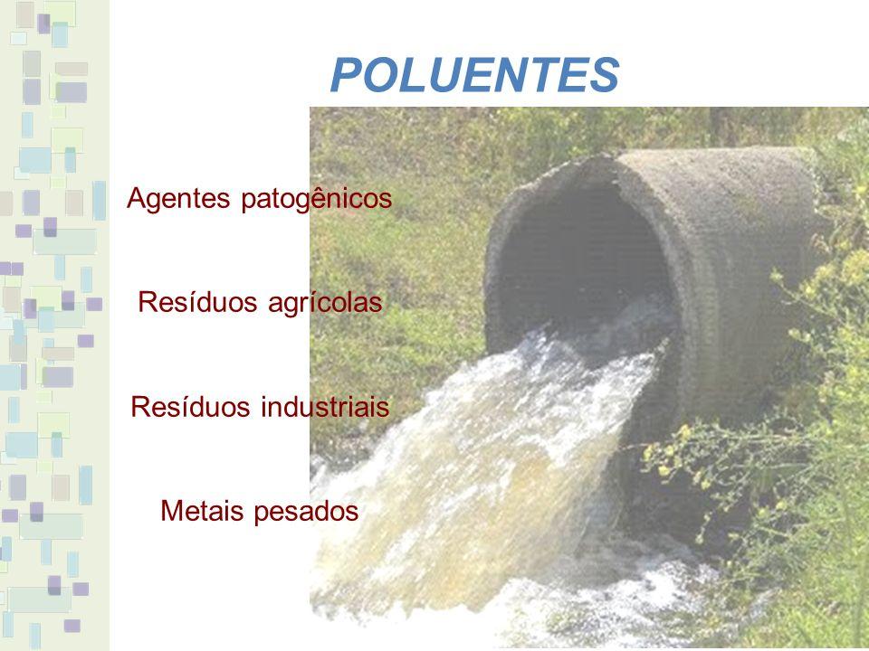 POLUENTES Agentes patogênicos Resíduos agrícolas Resíduos industriais Metais pesados