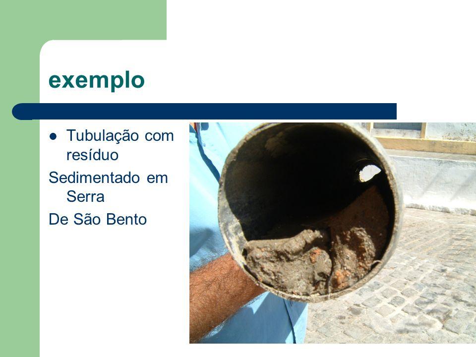 exemplo Tubulação com resíduo Sedimentado em Serra De São Bento