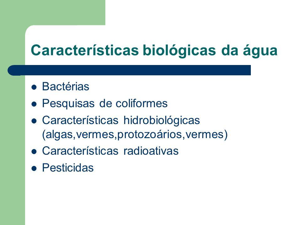 Características biológicas da água Bactérias Pesquisas de coliformes Características hidrobiológicas (algas,vermes,protozoários,vermes) Característica