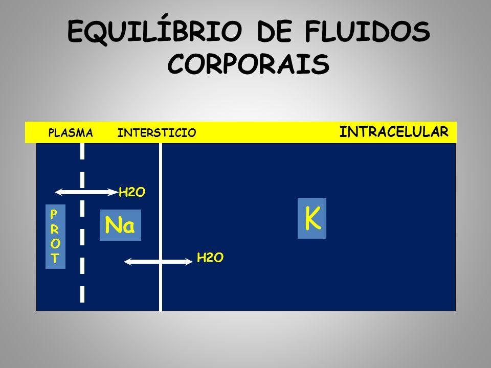 EQUILÍBRIO DE FLUIDOS CORPORAIS PLASMA INTERSTICIO INTRACELULAR H2O PROTPROT Na K