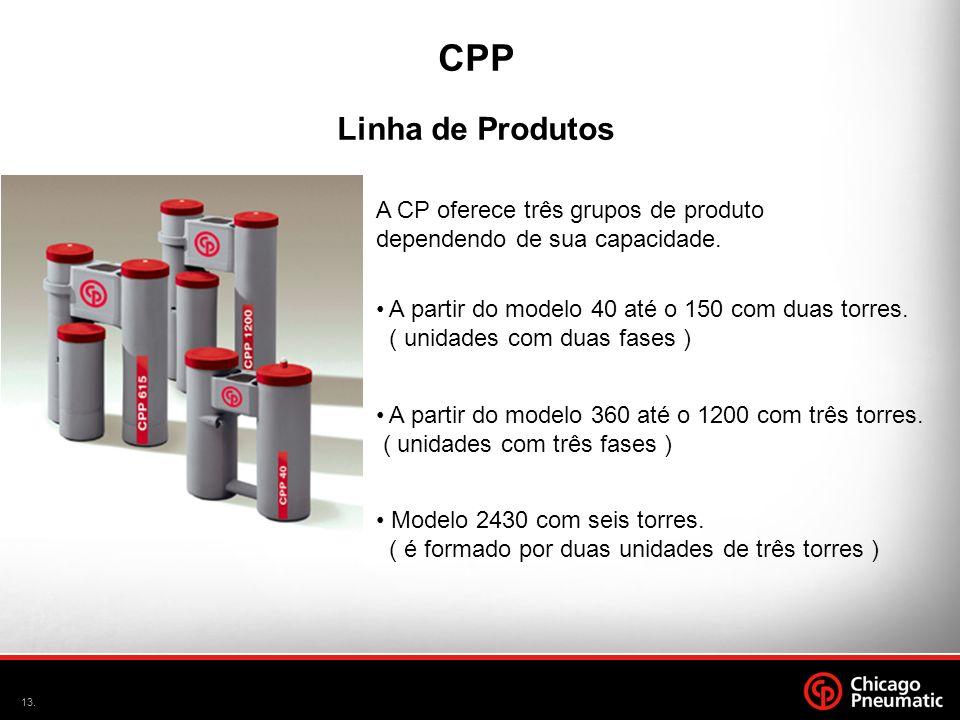 13. CPP Linha de Produtos A CP oferece três grupos de produto dependendo de sua capacidade. Modelo 2430 com seis torres. ( é formado por duas unidades