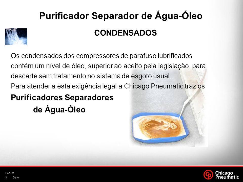 3. Footer Date Purificador Separador de Água-Óleo CONDENSADOS Os condensados dos compressores de parafuso lubrificados contém um nível de óleo, superi