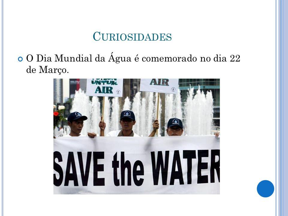 C URIOSIDADES O Dia Mundial da Água é comemorado no dia 22 de Março.