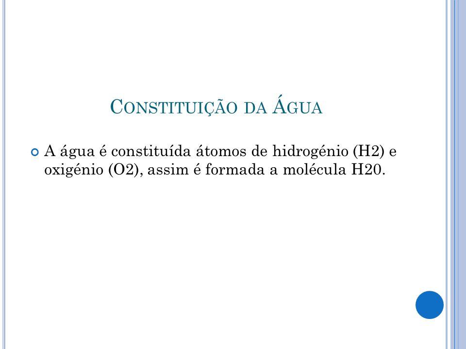 C ONSTITUIÇÃO DA Á GUA A água é constituída átomos de hidrogénio (H2) e oxigénio (O2), assim é formada a molécula H20.