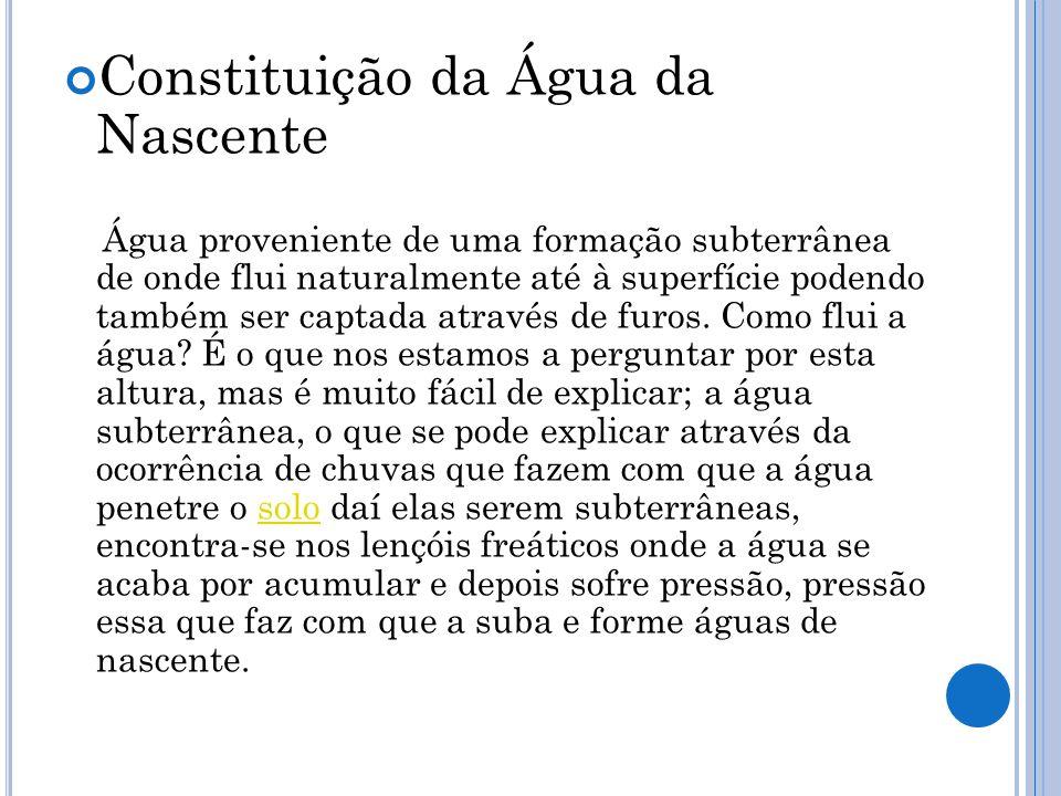 Constituição da Água da Nascente Água proveniente de uma formação subterrânea de onde flui naturalmente até à superfície podendo também ser captada at
