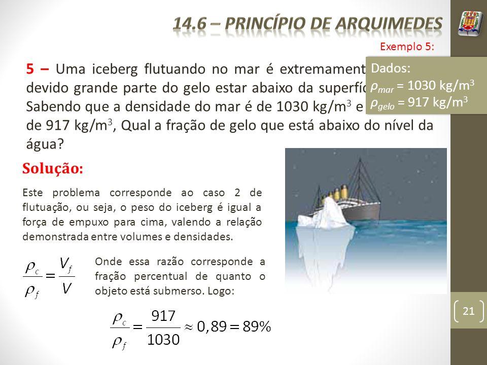 21 5 – Uma iceberg flutuando no mar é extremamente perigoso devido grande parte do gelo estar abaixo da superfície do mar. Sabendo que a densidade do