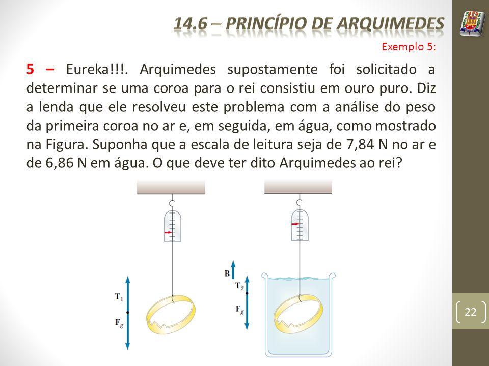 22 5 – Eureka!!!. Arquimedes supostamente foi solicitado a determinar se uma coroa para o rei consistiu em ouro puro. Diz a lenda que ele resolveu est