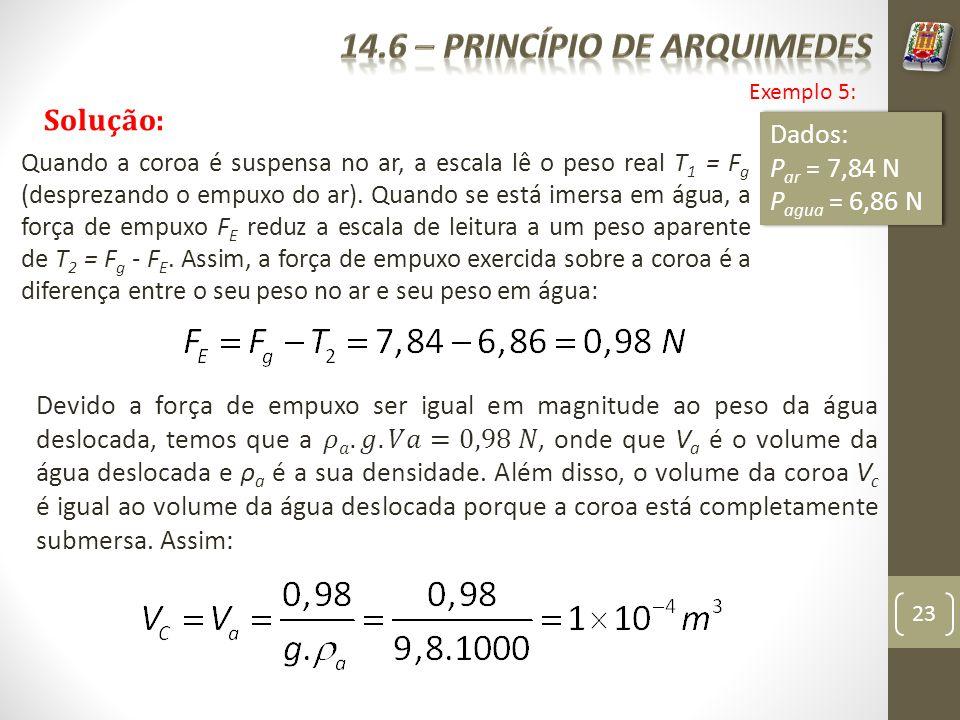 23 Exemplo 5: Solução: Dados: P ar = 7,84 N P agua = 6,86 N Dados: P ar = 7,84 N P agua = 6,86 N Quando a coroa é suspensa no ar, a escala lê o peso r