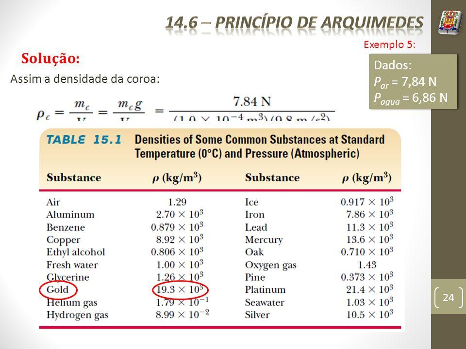 24 Exemplo 5: Solução: Dados: P ar = 7,84 N P agua = 6,86 N Dados: P ar = 7,84 N P agua = 6,86 N Assim a densidade da coroa: Pela tabela, podemos ver