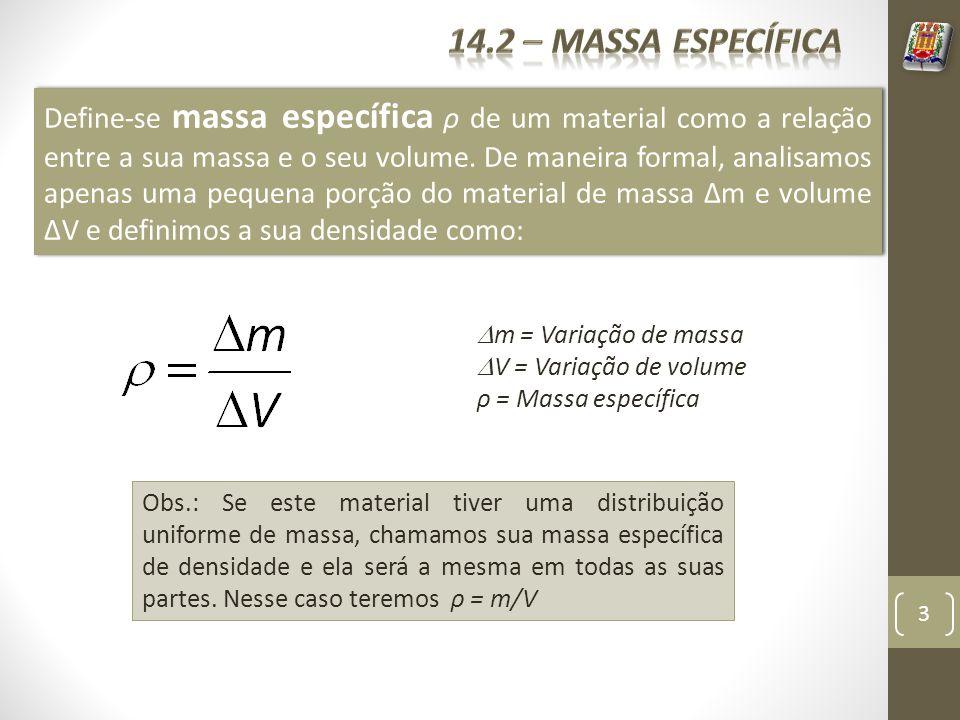 3 Define-se massa específica ρ de um material como a relação entre a sua massa e o seu volume. De maneira formal, analisamos apenas uma pequena porção